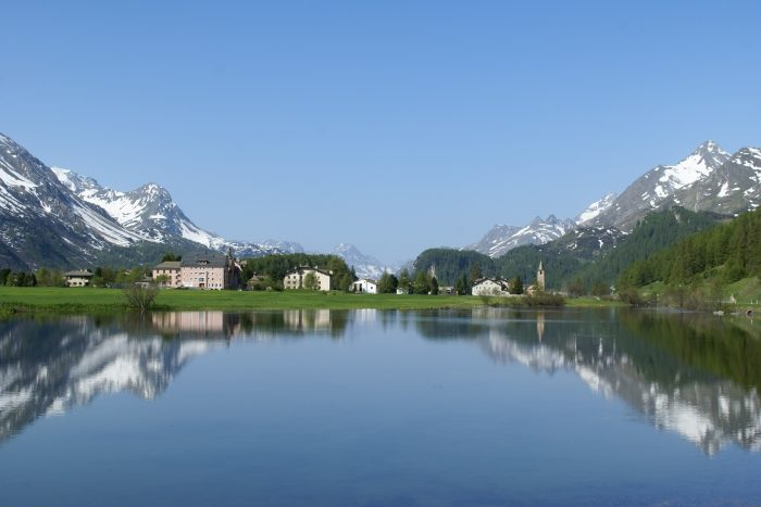 Spring on the lake in St. Moritz, Switzerland