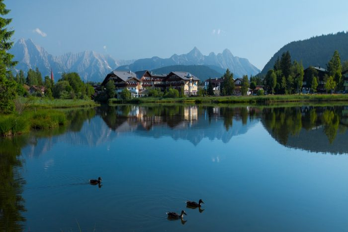 Pond in Alps with clear still water surface and swimming ducks. Seefeld, Austria