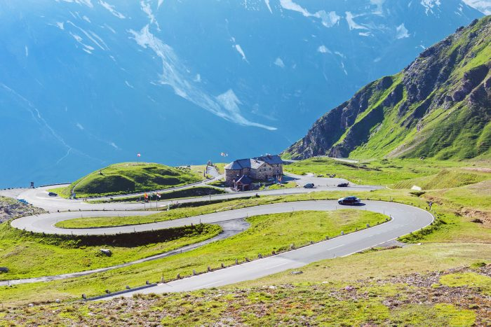 Mountain landscape with famous Grossglockner high Alpine road in Austria at summer