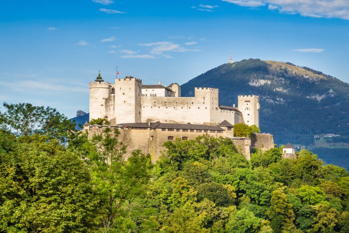 Aerial view of famous Hohensalzburg Fortress in Salzburg Salzburger Land Austria