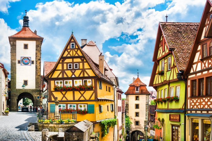Beautiful view of the historic town of Rothenburg ob der Tauber Franconia Bavaria Germany