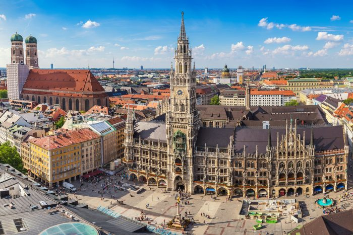Munich city skyline at Marienplatz new town hall Munich Germany