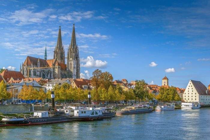 View of old town of Regensburg with st. Peter Cathedral from Danube river Germany