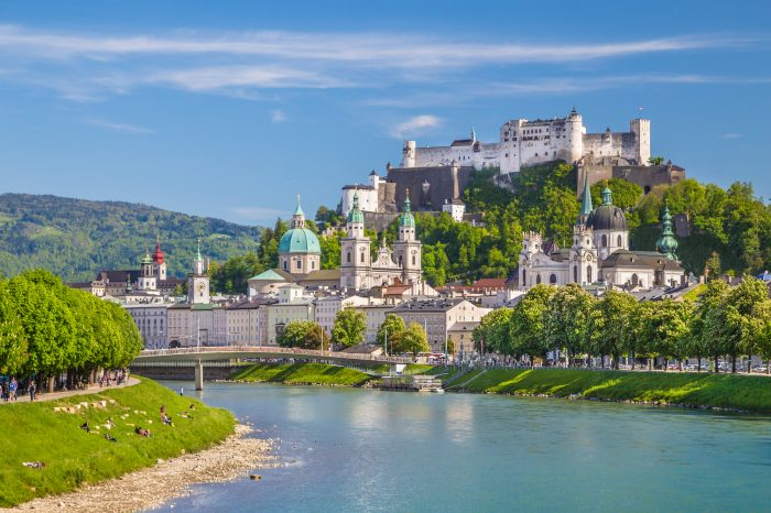 Beautiful view of Salzburg skyline with Festung Hohensalzburg and Salzach river in summer Salzburg Salzburger Land Austria