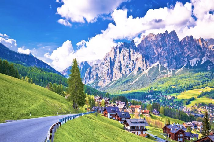Road to Cortina d' Ampezzo in Dolomites Alps Veneto region of Italy